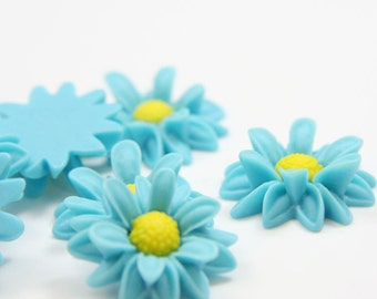 6pcs Acrylic Flower Cabochons- Blue 22mm (46F23)