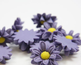 6pcs Acrylic Flower Cabochons- Purple 22mm (46F12)