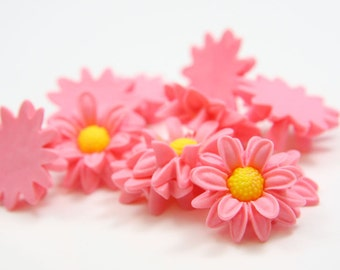 6pcs Acrylic Flower Cabochons- Pink 22mm (46F2)