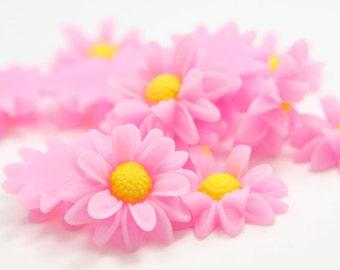 6pcs Acrylic Flower Cabochons- Hot Pink 22mm (46F2B)