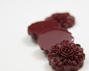 8pcs Acrylic Flower Cabochons-Wine Red 23mm (61F10)