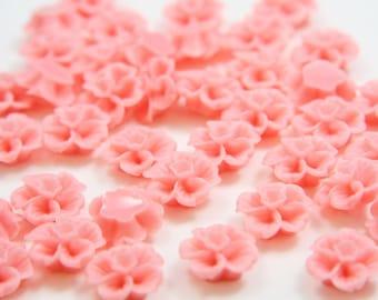 10pcs Acrylic Flower Cabochons-Pink 13mm (17F2)