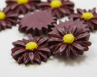 6pcs Acrylic Flower Cabochons-Wine Red and Yellow 28mm (F0007-A-69)