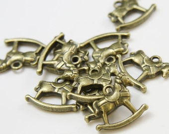 10pcs Antique Brass Base Metal Charms- Rocking Horse 19x17mm (154X-F-193B)