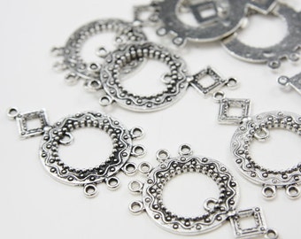 8pcs Oxidized Silver Tone Base Metal 5 to 1 component-40x24mm (3257X-F-36A)