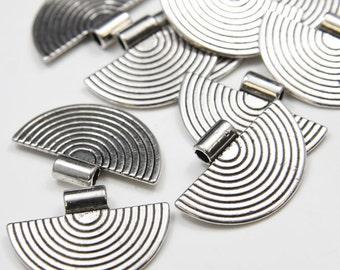 10pcs Oxidized Silver Tone Base Metal Pendants-34x23mm (695Y-P-109A)