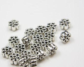 20pcs Oxidized Silver Tone Base Metal Spacers-flower 9mm (284X-E-146A)