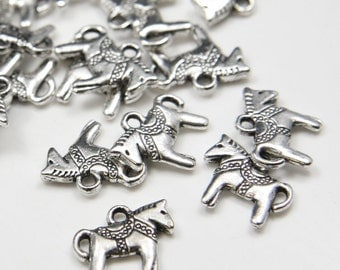 20pcs Oxidized Silver Base Metal Charms- Rocking Horse 14x12mm (11796Y-B-187A)