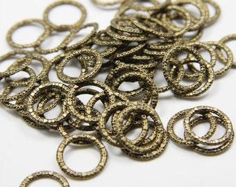 60pcs Antique Brass Tone Base Metal Rings-14mm (1Y-B-297B)