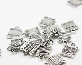 20pcs Oxidized Silver Base Metal Charms-Silk Thread 15x11mm (12978Y-F-173A)