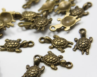 20pcs Antique Brass Tone Base Metal Charms-Turtle 22x12mm (303Y-B-160B)