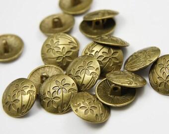 20pcs Antique Brass Tone Base Metal Findings-Button 17mm (15355Y-E-268B)