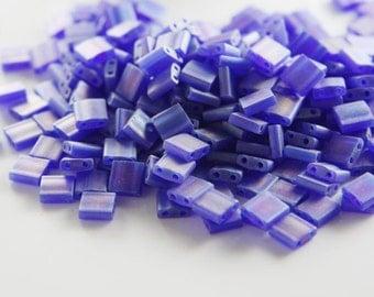 10 Grams Japanese Miyuki Tila Beads-Ocean Blue Transparent AB Frosted (TL0151FR) D