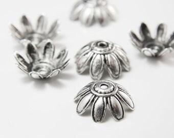 8pcs Oxidized Silver Tone Base Metal Flower Caps-27mm (11791Y-K-49A)