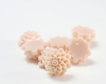 8pcs Acrylic Flower Cabochons-Peach 14mm (5F9)