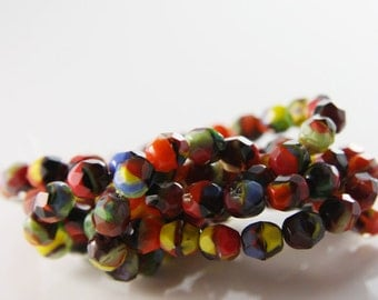 30pcs Czech Fire Polish Faceted Round-Red/ Black/ Yellow/ Multi 7mm (FP9507004)