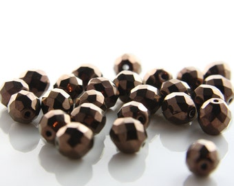 25pcs Czech Fire Polish Faceted Round-Bronze 10mm (FP10806)