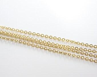 3 Feet Premium Matte Gold Plated Brass Base Chains-Flat Oval 2.7x2.0mm (412C06)(245SFB)