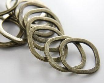14pcs Antique Brass Tone Base Metal Rings-25mm (25661Y-H-88B)