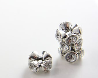 2pcs Oxidized Silver Tone Base Metal Spacers with Rhinestone - 13mm (7531Y-G-88A)