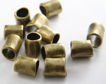 12pcs Antique Brass Tone Base Metal Spacers-Tube 14x12mm (10986Y-G-55B)