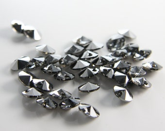 8pcs Swarovski 6428 Rivoli Pendants-Silver Night Crystal 8mm (SW25001)
