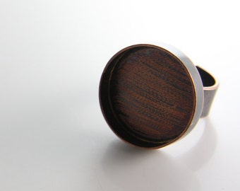 One Piece Antique Copper Handcrafted Bezel Ring Base-Round 22x18mm (102105)