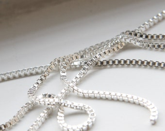 3 Feet Bright Silver Plated Brass Chains-Box 2mm (418C09)