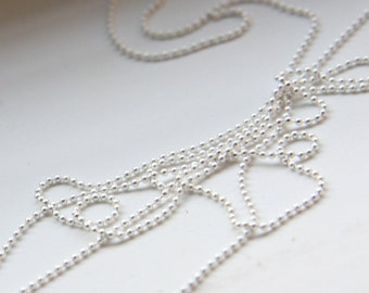 3 Feet Premium Matte Silver Plated Brass Chains-Ball 1mm (424C05)