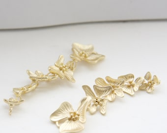 2pcs Matte Gold Plated Brass Base Pendants-Five Flower Links 63x17mm (120C-Q-96)