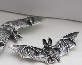 2 Pieces Oxidized Silver Plated Pendant - Bat  78x26mm (12C-F-324)