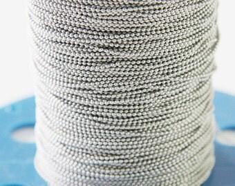 6 Feet Matte Rhodium Tone Chains-Ball 1mm (424C04)