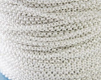 3 Feet Premium Matte Silver Plated Brass Base Chains-Rolo 3mm (420C05)