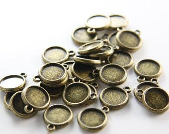 30pcs Antique Brass Tone Base Metal Cameo Settings-12mm (1465Y-G-4B)