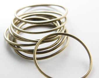 10pcs Antique Brass Tone Base Metal Rings- 39mm (8183Y-B-309B)