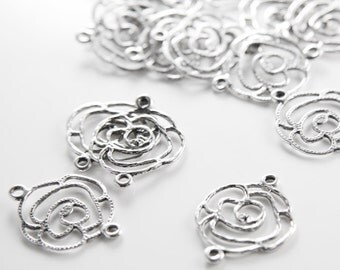 20pcs Oxidized Silver Tone Base Metal Charms-Flowers Link 20x25mm (25674Y-H-204)