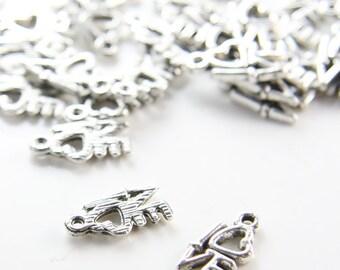40pcs Oxidized Silver Base Metal Charms-Love 14x8mm (299Y-B-375)
