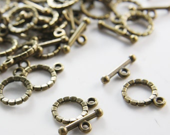 30 Sets Antique Brass Tone Base Metal Toggle Clasps (1578Y-K-224)