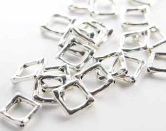 20pcs Oxidized Silver Tone Base Metal Spacers-Square 12mm with inner size 7mm (11201Y-B-337)