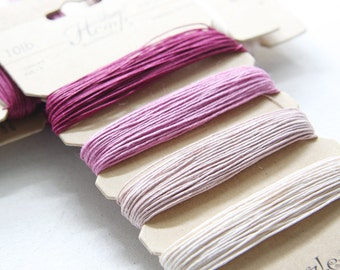 1 Package of Shades of Ruby Hemp -  4 colors of  41.9 feet -  0.5mm -10lb (101009)