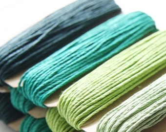 1 Package of Shades of Emerald Hemp -  4 colors of  29.9 feet -  1mm -20lb (101111)