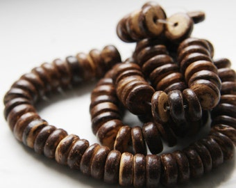 16 Inch Full Strand Coconut Wheels Beads  - Disc - 10mm Brown