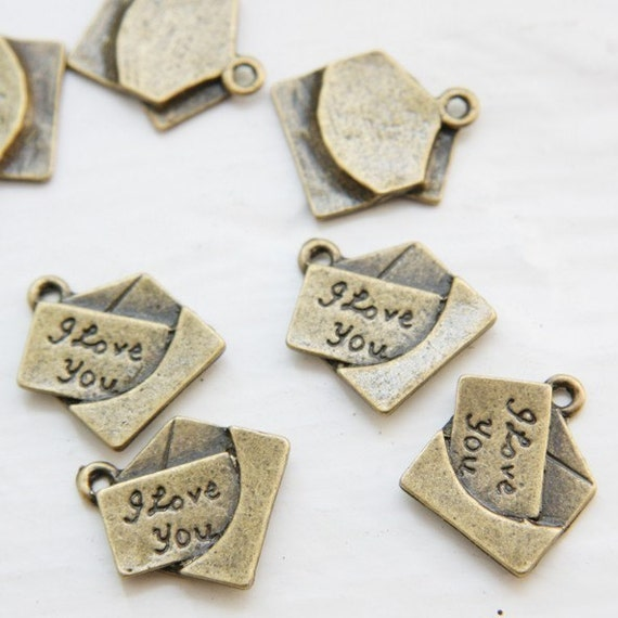 12pcs Antique Brass Tone Base Metal Charms-Letter 19x16mm