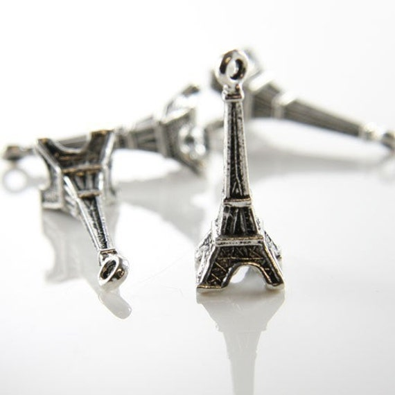 6pcs Oxidized Silver Tone Base Metal Charms-Eiffel Tower 31x11mm (10121Y-G-12A)