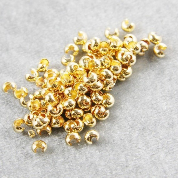 100pcs Bright Gold Tone Brass Base Crimp Covers-3mm (342C-I-372)