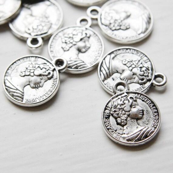 16pcs Oxidized Silver Tone Base Metal Charms-Coin 16mm (1075X-D-129A)