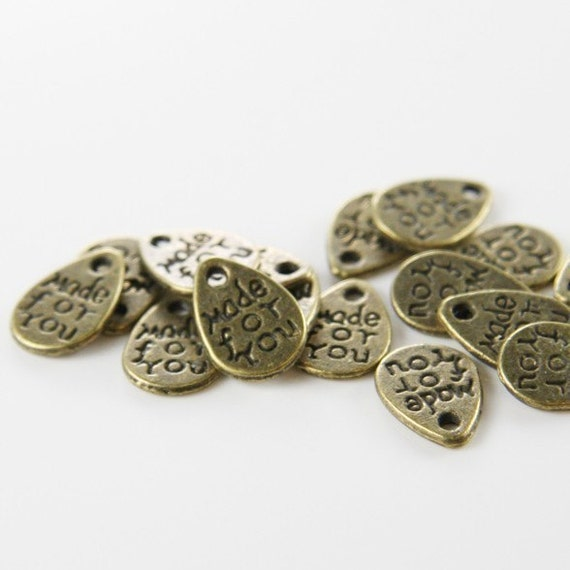 """60pcs Antique Brass Tone Base Metal Charms-Flat teardrop-""""Made For You"""" tag 11x8mm (5193Y-G-176) W"""