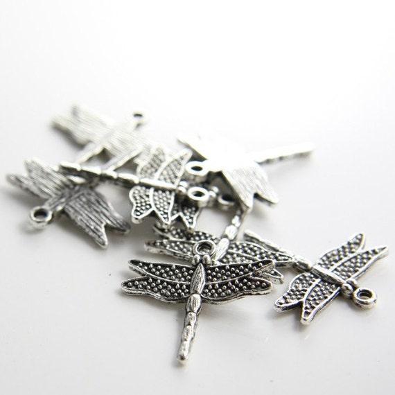 18pcs Oxidized Silver Tone Base Metal Charms-Dragonfly 26x24mm (709Y-C-131)