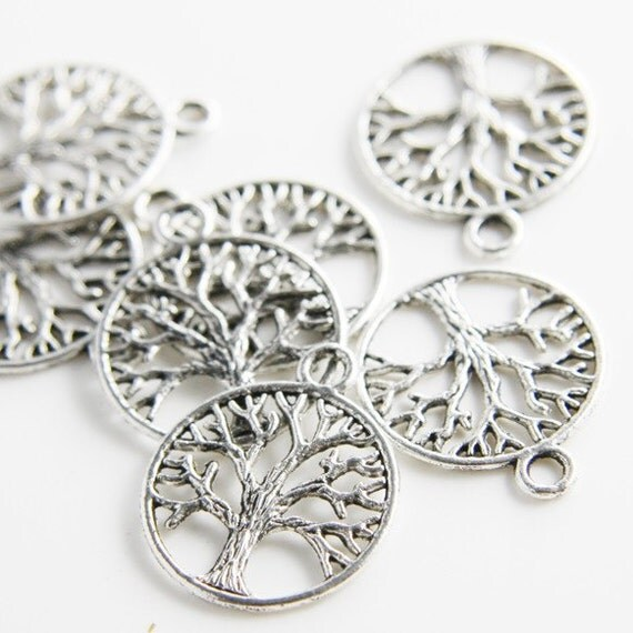 20pcs Oxidized Silver Tone Base Metal Charms-Tree in Ring 24x20mm (12816Y-G-64A)