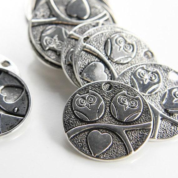 8pcs Oxidized Silver Tone Base Metal Charms-Owl 25mm (12931Y-C-18)
